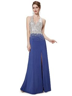 Shop Blue Halter Sequined Backless Slit Maxi Dress from choies.com .Free shipping Worldwide.$100.99