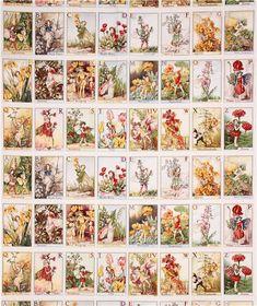 Tissu imitation patchwork de la collection « Flower Fairies » avec des rectangles avec des fées de A à Z