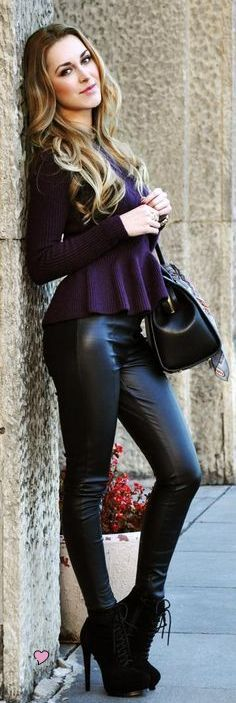 leather leggings and purple knit peplum