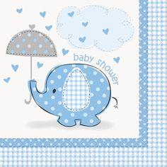 Umbrellaphants Blue Baby Shower Lunch Napkins (16), 95343