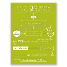 How We Met - save the date cards   infograph save the dates at Invitations By Dawn