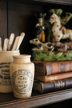 French mustard pots, staffordshire, books