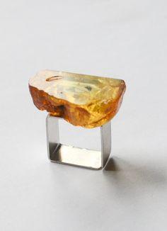 Ring, genuine Amber Ring, matte Silver 925 rail, YELLOW GOLD ,nuggets,modern design,Anello argento,Sølv ring,Bernsteinring,giftbox,UniqueNEW von JewellerWithSoul auf Etsy