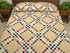 Scrappy Triple Irish Chain Quilt Photo.  Quilt has been sold!  Good for ideas.  ~Kelly