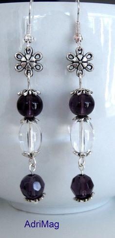 Boucles d'oreille en perles de verre violet transparent