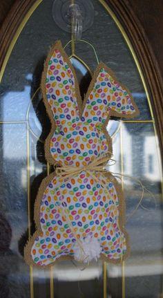 Jelly Bean Bunny Door Hanger, Burlap Easter Door Hanger, Easter Decor, Easter Bunny, Spring Decor