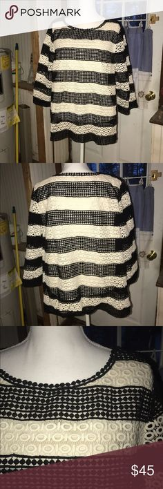 Talbots Embroidered Top Black and ivory lace top.  Perfect for every season.  Worn one time, in excellent condition.  Medium weight.  No pulls, snags, or other damage. Talbots Tops