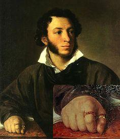 В.А.Тропинин, портрет А.C.Пушкина, 1827 год. На безымянном пальце - витое кольцо с сердоликом, на большом - кольцо с изумрудом