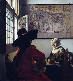 Jan Vermeer van Delft. Officer with a Laughing Girl (also known as Officer and Laughing Girl). c. 1657. Frick Collection, New York.