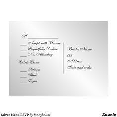 Silver Menu RSVP Postcard 50% Off #leatherwooddesign #zazzle