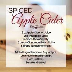 Spiced Apple Cider Recipe with Young Living Essential Oils! Hello fall!