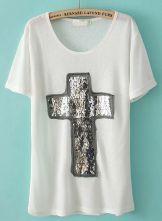 White Short Sleeve Sequined Cross T-Shirt $20.98 #SheInside