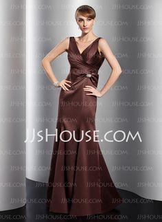 Evening Dresses - $126.99 - Mermaid V-neck Floor-Length Satin Evening Dress With Ruffle Crystal Brooch (017014758) http://jjshouse.com/Mermaid-V-Neck-Floor-Length-Satin-Evening-Dress-With-Ruffle-Crystal-Brooch-017014758-g14758