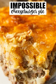 Impossible Cheeseburger Pie - Super easy and delicious! This yummy recipe is full of cheesy beefy flavor that everyone loves. Impossible Cheeseburger Pie - Super easy and delicious! This yummy recipe is full of cheesy beefy flavor that everyone loves. Easy Cheeseburger Pie Recipe, Impossibly Easy Cheeseburger Pie, Hamburger Meat Recipes, Impossible Cheeseburger Pie Bisquick, Bisquick Recipes, Amish Recipes, Gourmet Recipes, Cooking Recipes, Cheese Burger