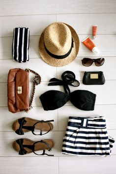 Tenue de plage noir et blanc ! #decontracte #classique ♥ Inspiration stylefruitsFR ♥