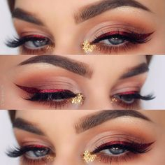 "- NABLA Cosmetics (@nablacosmetics) on Instagram: ""The stunning @ohhmels adorned this beautiful matte cut crease by adding a metallic red winged liner…"" Pinterest: miathegemini1"