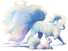 The Alolan variants of Vulpix and Ninetales are so pretty :) by kaenith.tumblr.com
