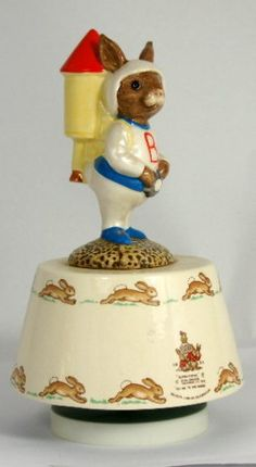 "Vintage Royal Doulton Bunnykins Musical Figurine ""Fly Me to the Moon"". Keva xo."