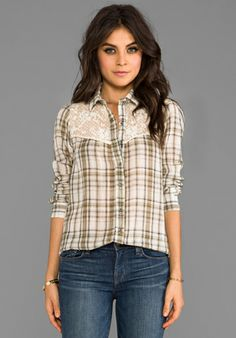 Free People Plaid Saddle Button Down in Ivory Combo