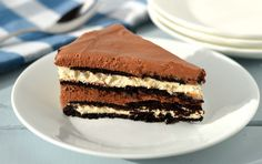 Chocolate hazelnut cream cake has layers of chocolate wafers, luscious cream cheese, and hazelnut cream.