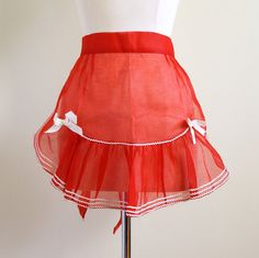 Sheer Red Organza Hostess Half Apron 60s LikeNew / by AttysVintage