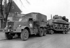 Diamond T 981 tows a M4A1 Sherman to repair the Haguenau, France