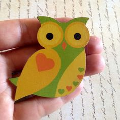 Wooden owl brooch by NeonHorseDesign on Etsy