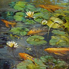 437 Koi and Lilies by artist Chuck Larivey. #artwork found on the FASO Daily Art Show - http://dailyartshow.faso.com