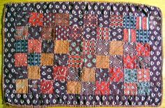1880 antique matter brown doll quilt wool challis.