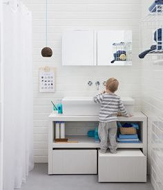 Bathroom vanity unit - 35 design solutions - white vanity unit with functional design fitted with large drawers and open compartment - Bathroom Kids, Home, White Vanity, White Vanity Unit, Bathroom Units, Modern Bathroom, Modern Bathroom Sink, Bathrooms Remodel, Bathroom Design
