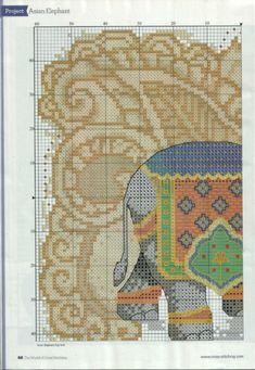 Asian Elephant part 1 free cross stitch pattern