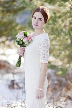 tea length modest wedding gown