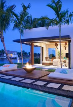 outdoor cabana and firepit