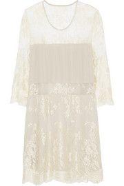 Mason by Michelle MasonPaneled lace and silk mini dress