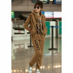 $18.00 New Arrival Letters Print Thicken Fleeces Three-piece Cotton Blend Hoodie Suit For Women