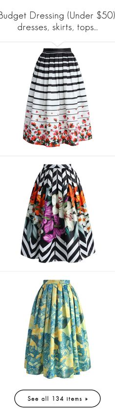 """""""Budget Dressing (Under $50), dresses, skirts, tops..."""" by judymjohnson ❤ liked on Polyvore featuring skirts, bottoms, saias, midi skirt, striped midi skirt, pleated midi skirts, stripe midi skirt, stripe skirt, mid calf skirts and faldas"""