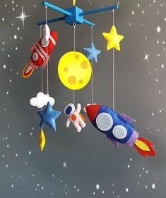 Spaceship baby mobile astronauts crib nursery felt galaxy mobile baby custom mobile Baby crib mobile Space baby mobile solar system mobile When buying Mobile you can choose Wooden mobile hanger,white plastic mobile hanger and hoop covered in felt (see photo # 5) Toys sewn from felt.Wooden