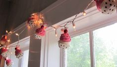 Fake Cupcake Pink Rockabilly String of Lights 12 Legs Orignal Concept Design Featuring 10 Mini Pink Fake Cupcakes Perfect for Bakery Decor. $38.00, via Etsy.
