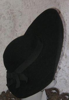 Fab Vintage 1930s 1940s Tilt Black Hat With a wide by HartsCloset, $79.99