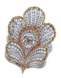 BUCCELLATI ~ Gold and Diamond Flower Clip.