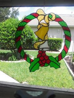 Stained Glass Holiday Wreath, Christmas Decorations, Window Hanging, Handmade Gift, Home Decor - pinned by pin4etsy.com