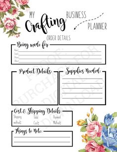 Need help getting your crafting orders organized? Use this handy printable and get yourself sorted today so that you can get back to crafting and making money! Arts And Crafts For Teens, Crafts To Make And Sell, Etsy Business, Craft Business, Business Tips, Facebook Business, Planner Pages, Printable Planner, Filofax