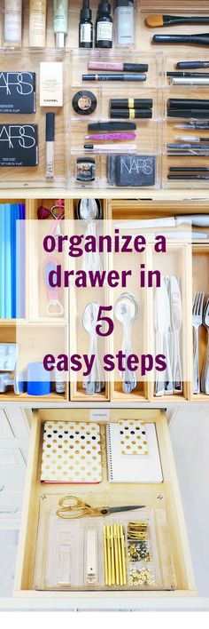 Kickstart your organizing sprint by tackling the smallest storage space: your drawers! This streamlined technique works for every drawer in the house. Dresser Drawer Organization, Home Organization Hacks, Organizing Your Home, Organising, Organizing Ideas, Small Space Storage, Storage Spaces, Kitchen Storage Solutions, Kitchen Drawers
