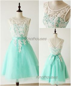Ivory Lace covered Top Mint Lining Tulle Prom Dresses/ sweet girl dress/ junior bridesmaid dress  This dress can be custom made, both size and color can be custom made. Custom size and color made will charge for no extra. If you need a custom dress, please send us messages for your detail requ...