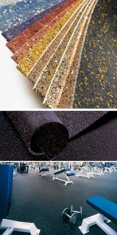 Rubber Flooring: Color swatches and ideas for a home gym or renovation.  http://www.flooringinc.com/rubber/rolls/8mm-rubber-roll-designer-series.html