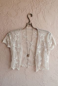 Lace 'jacket' - lovely over a tank top and blue jeans!