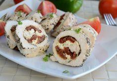 Gotuj z Cukiereczkiem: Roladki z kurczaka na parze z suszonymi pomidorami i fetą