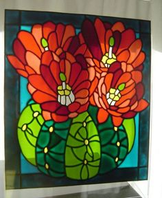 Cactus - stained glass effect window painting / cling - 34 x 30 cm. £25.00, via Etsy.: