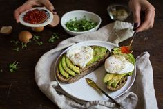 Avocado Toast with Poached Egg, Salmon Roe, and Seaweed Gomashio More