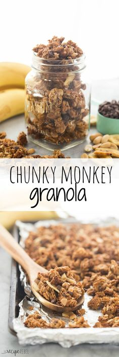 2 Easy Homemade Caramel Popcorn Recipes An Easy Granola Made With Banana, Chocolate And Peanut Butter Chunky Monkey Granola A Great Source Of Protein And Fiber Breakfast Recipes, Snack Recipes, Dessert Recipes, Snacks, Freezer Recipes, Freezer Cooking, Drink Recipes, Cooking Tips, Banana Granola